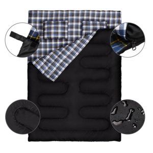 Canway Best Double Sleeping Bag Flannel Sleeping Bags with 2 Pillows