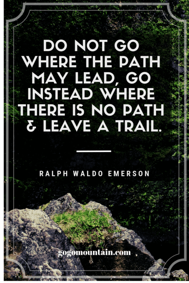 Do not go where the path may lead, go instead where there is no path & leave a trail.