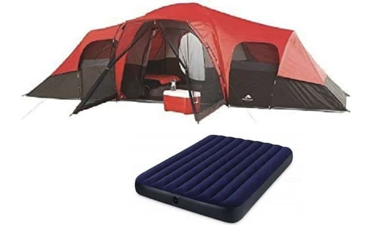 OZARK Trail Family Cabin Tent (Grey, 10 Person with Airbed)