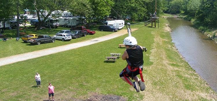 best campsites Ohio-lazy-river-at-granville-zipline