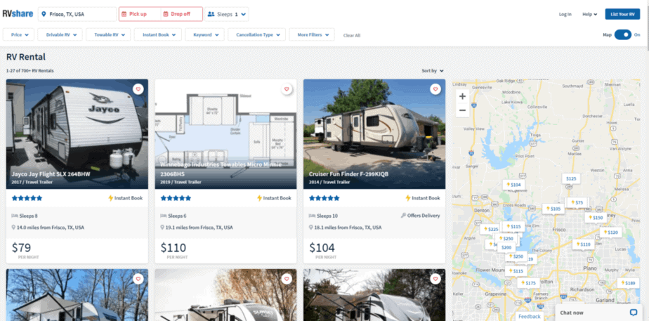 where to rent an RV in frisco texas