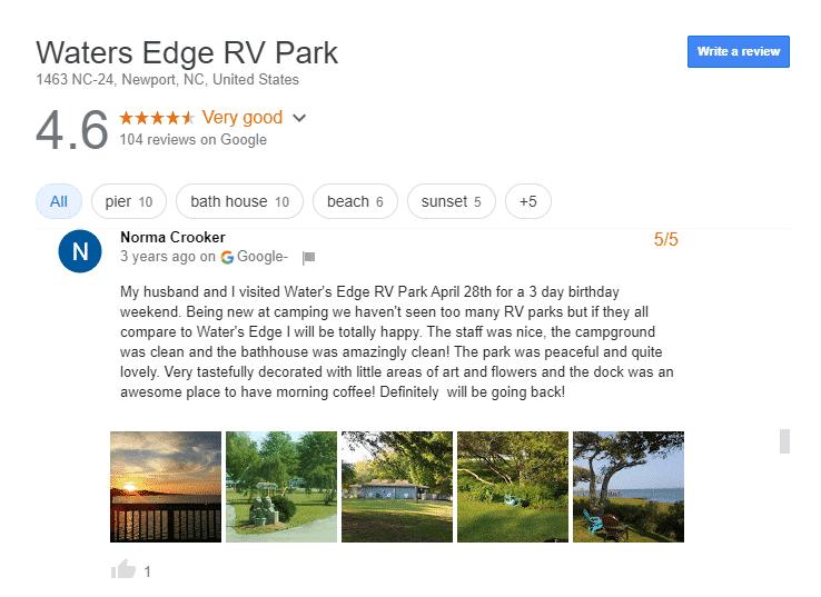 Luxury RV campsites in North Carolina