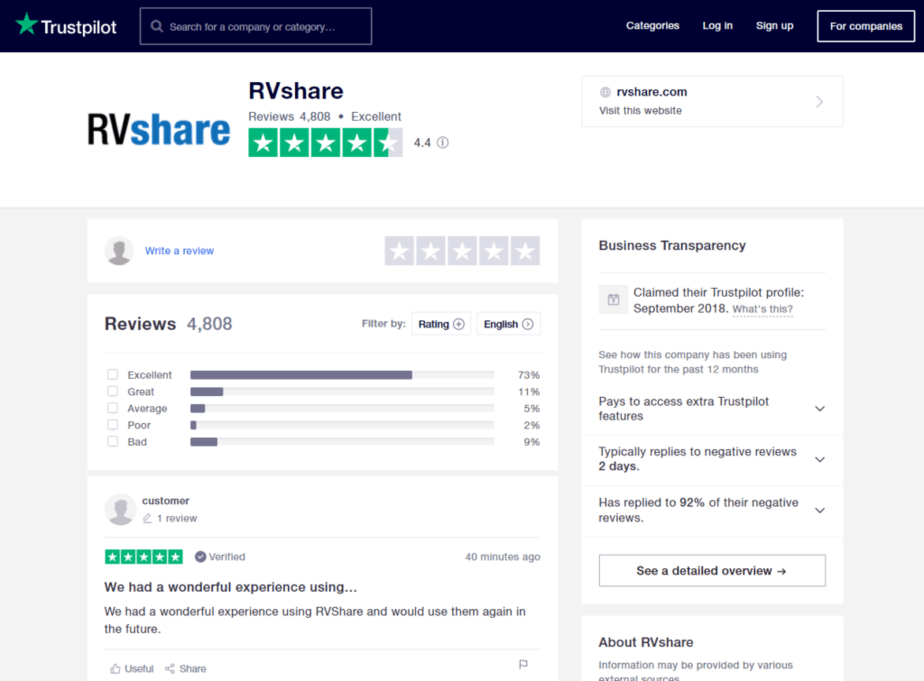 rvshare trustpilot reviews