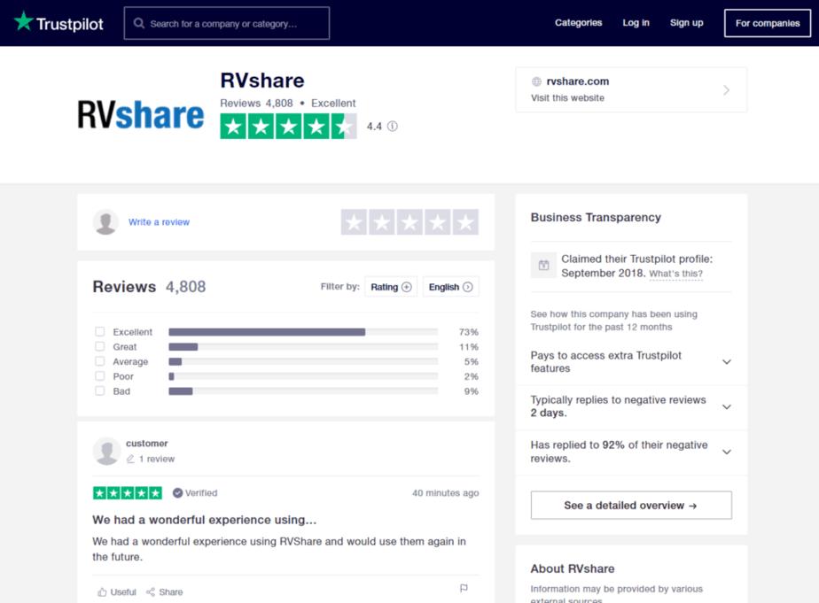 rvshare trustpilot reviews