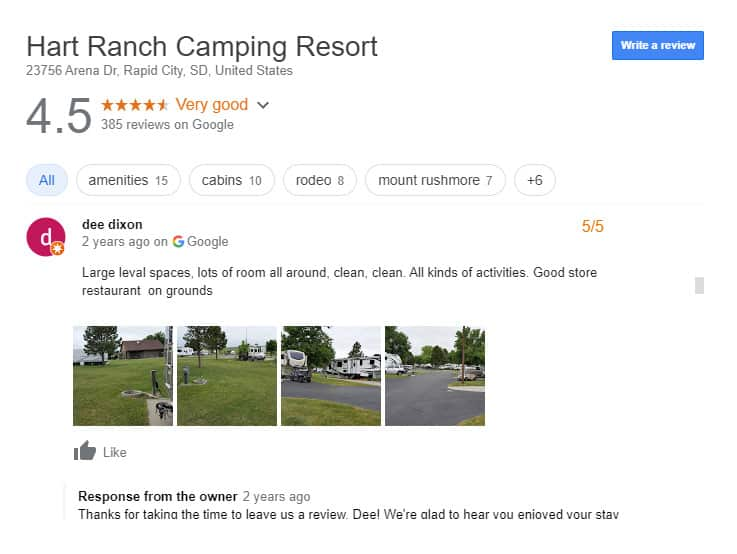 Luxury RV Campsite in South Dakota