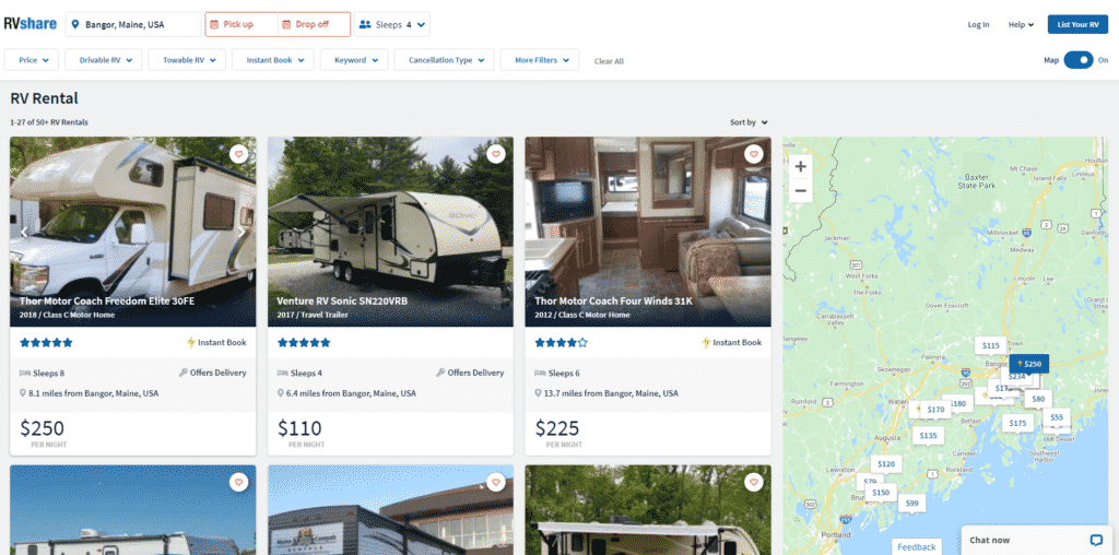 Luxury RV Rentals In Bangor Maine For A Well Deserved RV Camping Vacation